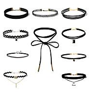 בגדי ריקוד נשים סט תכשיטים שרשראות מחרוזת קעקוע קולר ריינסטון זירקונה מעוקבת Bowknot Shape Geometric Shape בצורת Y תחרה סגסוגתעיצוב