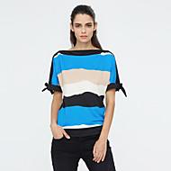 T-shirt Da donna Per uscire Taglie forti / Moda città Estate,A strisce Rotonda Poliestere Blu / Rosso / Arancione Manica cortaMedio