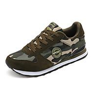 Masculino-Tênis-Conforto Solados com Luzes par sapatos-Rasteiro-Verde Militar-Lona-Ar-Livre Casual