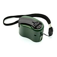 usb håndsving manuel dynamo mobiltelefon opladeren nødsituation til mp4 mp3 mobil pda-- grøn