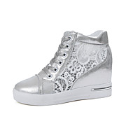 Women's Heels Spring Summer Comfort PU Office & Career Casual Wedge Heel Lace-up White Silver