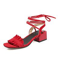 נשים-סנדלים-דמוי עור-נוחות רצועה אחורית שפיץ ושני חלקים-שחור כתום צהוב אדום-שטח שמלה-עקב עבה