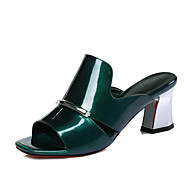 Damen-Sandalen-Büro Lässig Kleid-Leder Lackleder-Blockabsatz-Club-Schuhe-Grün