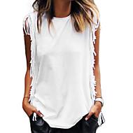 Feminino Camiseta Para Noite Praia Férias Vintage Simples Moda de Rua Verão,Sólido Algodão Decote Redondo Sem Manga Fina