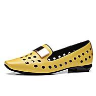 Damen-Loafers & Slip-Ons-Büro Kleid Lässig-Leder-Flacher Absatz Niedriger Absatz Blockabsatz-Komfort-Grau Gelb