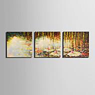 Landskab Blomstret/Botanisk Moderne,Tre Paneler Kanvas Firkantet Kunsttryk Vægdekor For Hjem Dekoration