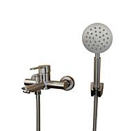現代風 近代の バスタブとシャワー ワイドspary with  セラミックバルブ シングルハンドル二つの穴 for  ステンレス , 浴槽用水栓