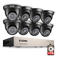 ZOSI® 8CH 1080N HDMI DVR 1280TVL 720P HD Outdoor Security System CCTV Video Surveillance 1TB Camera Set