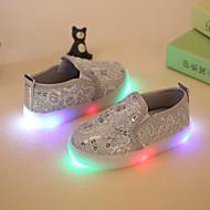 女の子-ドレスシューズ カジュアル パーティー-化繊-フラットヒール-フラワーガールの靴 靴を点灯-ローファー&スリップアドオン-ゴールド シルバー ピンク