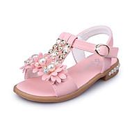 בנות-סנדלים-PU-נעלי ילדת הפרח סוליות מוארות-לבן כחול ורוד-חתונה שטח שמלה יומיומי מסיבה וערב-עקב שטוח