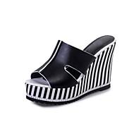 Damen Slippers & Flip-Flops Fersenriemen PU Sommer Normal Walking Fersenriemen Kariert Keilabsatz Weiß Schwarz 7,5 - 9,5 cm