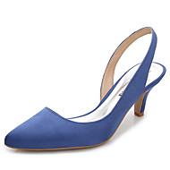 Mujer-Tacón Stiletto-Talón Descubierto-Zuecos y pantuflas-Boda Oficina y Trabajo Vestido Fiesta y Noche-Seda-Blanco Rosa claro Azul Real