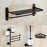 A Set of Four Products(Bathroom Shelf/Toilet Brush Holder/Toothbrush Holder/Towel Bar/Shower Basket) Of Oil Rubbed Bronze