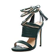 נשים-סנדלים-PU-נעלי מועדון-שחור ירוק צבא-שמלה יומיומי מסיבה וערב-עקב סטילטו