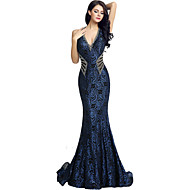 Formal Evening Dress Trumpet / Mermaid V-neck Court Train Jersey with Beading