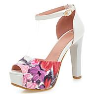 Feminino-Sandálias-Gladiador Sapatos clube-Salto Grosso-Azul Rosa claro-Materiais Customizados Courino-Casamento Social Festas & Noite
