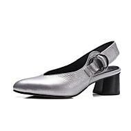 Damen-Cloggs & Pantoletten-Büro Kleid Lässig-Leder-Blockabsatz-Komfort Leuchtende Sohlen Club-Schuhe-Silber Rot Grün