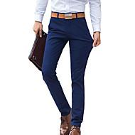 Herren Einfach Mittlere Hüfthöhe Micro-elastisch Chinos Gerade Schlank Hose einfarbig