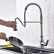Contemporary Art Deco/Retro Modern Tall/High Arc Pull-out/Pull-down Standard Spout Centerset Thermostatic Rain Shower Pullout Sprayer Kitchen Mixer