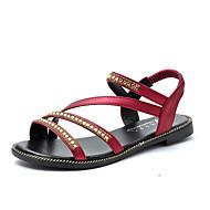 Kadın Sandaletler Rahat PU Bahar Yaz Günlük Elbise Rahat Taşlı Düz Topuk Siyah Kırmzı Mavi Düz