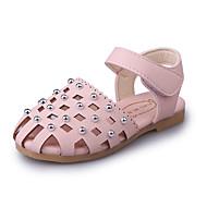 Para Meninas-Sandálias-Menina Flor Shoes Solados com Luzes-Rasteiro-Bege Cinzento Rosa claro-Couro Ecológico-Casamento Ar-Livre Social