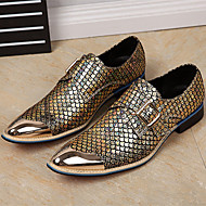 Men's Oxfords Comfort Cowhide Spring Fall Casual Low Heel Gold Black Silver 1in-1 3/4in