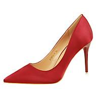 Feminino-Saltos-Conforto-Salto Agulha-Prateado Vermelho Verde Rosa claro Vinho-Seda-Social
