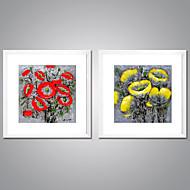 Uokvirena Canvas Ispis Sažetak Cvjetni / Botanički Tradicionalno Europska Style,Dvije plohe Platno Kvadrat Ispis Art Zid dekor For