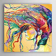 Håndmalte Mennesker Firkantet,Moderne Et Panel Lerret Hang malte oljemaleri For Hjem Dekor