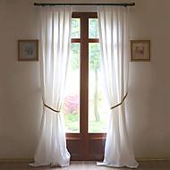 Dois Painéis Tratamento janela Rústico Moderno Neoclassicismo Mediterrêneo Europeu Designer , Sólido Sala de Estar Linho MaterialCortinas