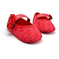 Barn Baby Flate sko Første gåsko Tekstil Vår Høst Bryllup Avslappet Formell Fest/aften Første gåsko Sløyfe Hekte Flat hælHvit Svart Rød