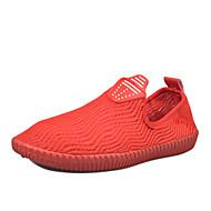 נשים-נעליים ללא שרוכים-פשתן-נעלי בובה (מרי ג'יין)-לבן שחור אדום ורוד-שטח יומיומי ספורט-עקב וודג'