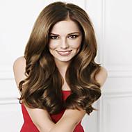 Női Emberi hajból készült parókák Emberi haj Csipke Csipke korona, szőtt 130% Sűrűség Hullámos haj Paróka Gesztenyebarna Rövid Közepes