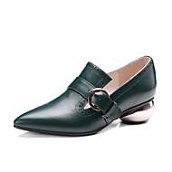 Femme-Bureau & Travail Habillé Soirée & Evénement-Noir Vert foncé-Talon Bas-club de Chaussures-Chaussures à Talons-Cuir