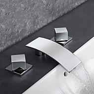 Moderne Art Deco/Retro Vandret Montering Vandfald Termostatisk Regnbruser with  Messing Ventil To Håndtag tre huller for  Krom ,