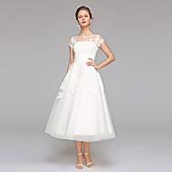 LAN TING BRIDE A-라인 웨딩 드레스 - 피로연 드레스 어깨 노출 스타일 종아리 길이 보트넥 레이스 튤 와