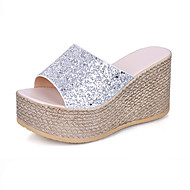 Women's Shoes Glitter Summer Comfort Sandals Walking Shoes Wedge Heel Open Toe Hollow-out For Casual Gold Black Silver