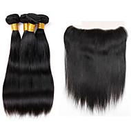 Cabelo Humano Ondulado Cabelo Indiano Retas 12 meses 5 Peças tece cabelo
