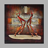 Håndmalte Abstrakt Mennesker Firkantet,Moderne Et Panel Lerret Hang malte oljemaleri For Hjem Dekor