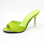 Femme-Habillé Décontracté-Blanc Noir Vert Rose-Talon Aiguille-Confort club de Chaussures-Chaussons & Tongs-Cuir Verni