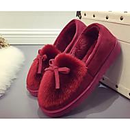 נעלי ספורט של נשים האביב נוחות עור פרווה מזדמנים קפה בורגונדי אפור