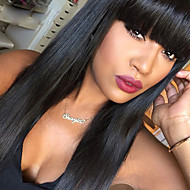9A Grade Straight Lace Front Human Hair Wigs with Big Bangs 130% Density Brazilian Virgin Hair Glueless Lace Wigs for Black Woman