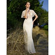 LAN TING BRIDE Trumpet / Mermaid Wedding Dress - Chic & Modern Floor-length V-neck Lace with Beading