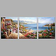 Håndmalte Mennesker Horisontal,Moderne Tre Paneler Lerret Hang malte oljemaleri For Hjem Dekor