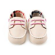 ילדים תינוק נעליים ללא שרוכים צעדים ראשונים PU אביב סתיו קזו'אל צעדים ראשונים אסוף עקב שטוח שחור בז' חום שטוח