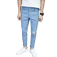 Herren Einfach Mittlere Hüfthöhe Mikro-elastisch Jeans Schlank Hose einfarbig