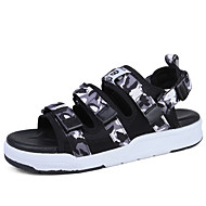 Men's Sandals Light Soles Fabric Outdoor Casual Flat Heel Magic Tape Silver/Black Green Red Gray Black Walking Shoes