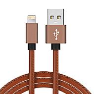 Lightning USB 2.0 Tressé Haut débit Plaqué or Câble Pour iPhone iPad MacBook MacBook Air MacBook Pro cm Cuir PU Aluminium