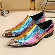 Oxford-kengät-Tasapohja-Miehet-Nahka-Purppura-Häät Toimisto Juhlat-Comfort Uutuus muodollinen Kengät