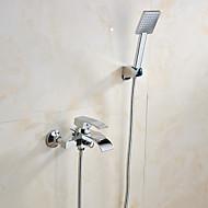 עכשווי מותקן על הקיר מפל with  שסתום קרמי שתי ידיות חור אחד for  כרום , ברז לאמבטיה